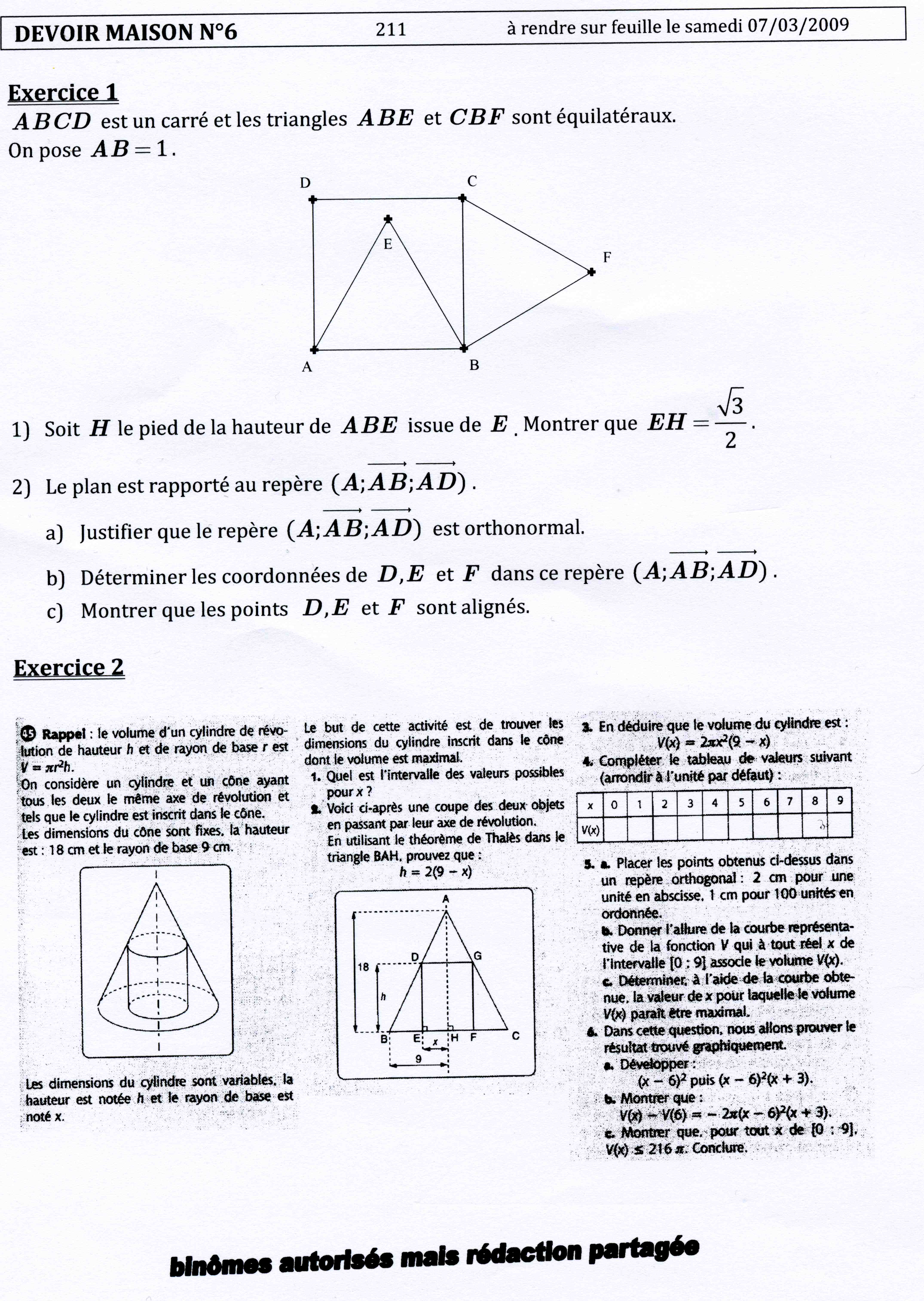 dm maths seconde